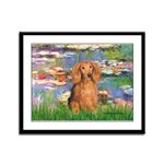 Lilies (2) & Doxie (LH-Sable) Framed Panel Print