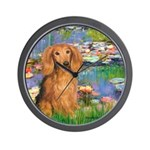 Lilies (2) & Doxie (LH-Sable) Wall Clock