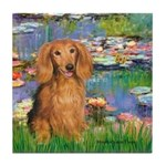 Lilies (2) & Doxie (LH-Sable) Tile Coaster