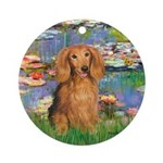 Lilies (2) & Doxie (LH-Sable) Ornament (Round)
