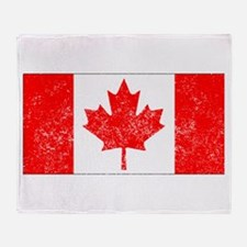 Distressed Canada Flag Throw Blanket