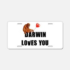 Darwin Loves You Aluminum License Plate