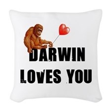 Darwin Loves You Woven Throw Pillow