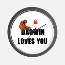 Darwin Loves You Wall Clock