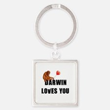 Darwin Loves You Square Keychain