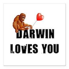 "Darwin Loves You Square Car Magnet 3"" x 3"""