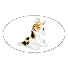 Wire Fox Terrier Reindeer Oval Decal