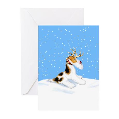 Wire Fox Terrier Reindeer Greeting Cards (6)