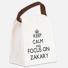 Keep Calm and Focus on Zakary Canvas Lunch Bag