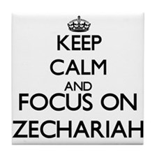Keep Calm and Focus on Zechariah Tile Coaster