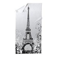 Eiffel Tower Paris (b/w) Beach Towel