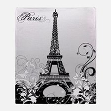 Eiffel Tower Paris B/W Throw Blanket