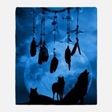 Dreamcatcher Wolves Throw Blanket
