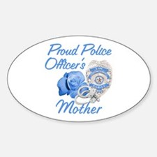 Blue Rose Police Mother Oval Stickers