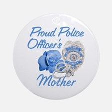 Blue Rose Police Mother Ornament (Round)