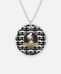 Whimsical Owl Chef Musctache Necklace
