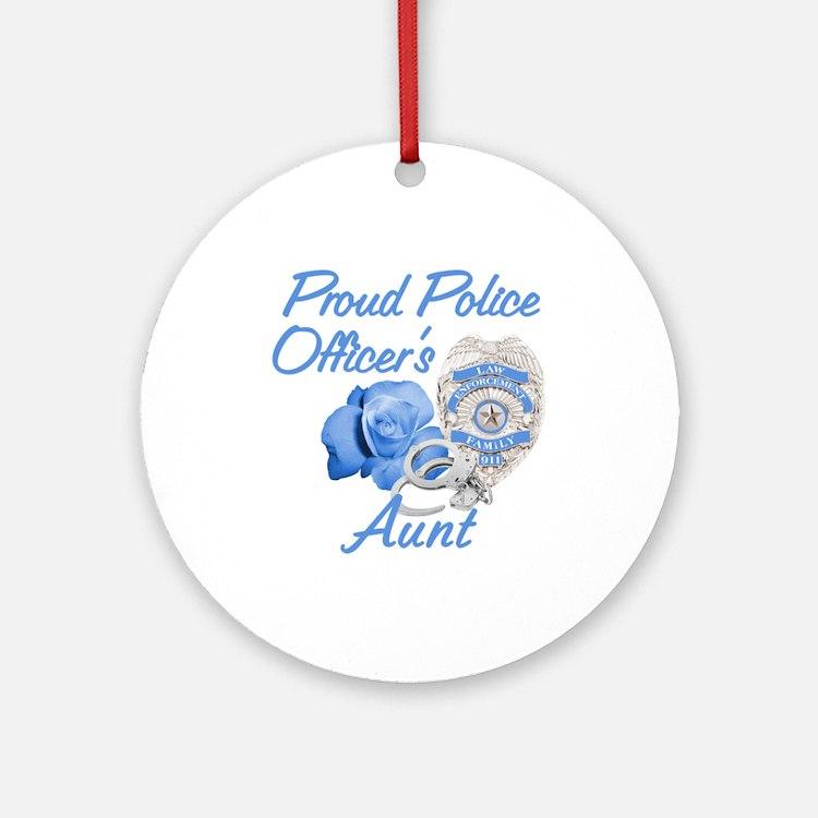 Blue Rose Police Aunt Ornament (Round)