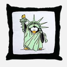 Statue of Liberty Penguin Throw Pillow
