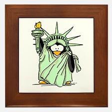 Statue of Liberty Penguin Framed Tile