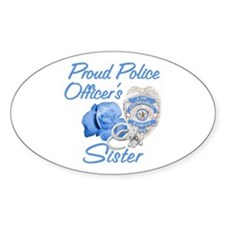 Blue Rose Police Sister Oval Stickers