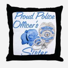 Blue Rose Police Sister Throw Pillow