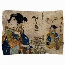 Vintage Japanese Art Woman Pillow Sham