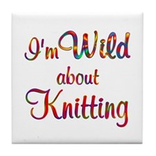 Wild About Knitting Tile Coaster