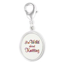 Wild About Knitting Silver Oval Charm
