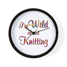 Wild About Knitting Wall Clock