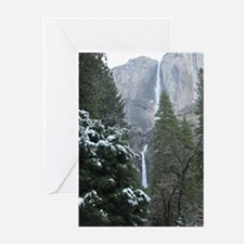Yosemite Falls in Winter Greeting Cards
