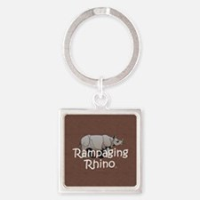 Rampaging Rhino Square Keychain