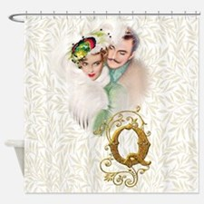 Monogram Q Art Deco Lovers Shower Curtain