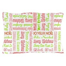 Merry Christmas Around The World Pattern Pillow Ca