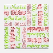 Merry Christmas Around The World Pattern Tile Coas