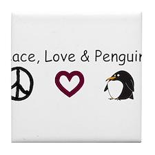 peace love penguins.bmp Tile Coaster