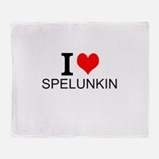I Love Spelunking Throw Blanket