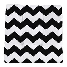 Chevron Zigzag Black White Classy Tufted Chair Cus