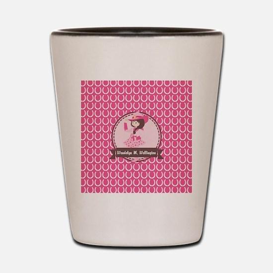 Pink Cowgirl Horseshoe Pattern Personal Shot Glass