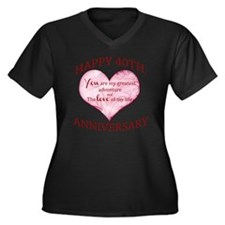 40th. Annive Women's Plus Size V-Neck Dark T-Shirt