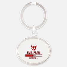 Evil Plan Loading Oval Keychain