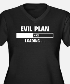 Evil Plan Loading Women's Plus Size V-Neck Dark T-