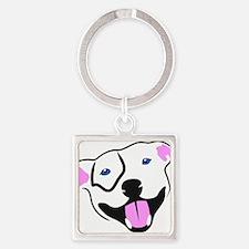 Cute Pittie Square Keychain