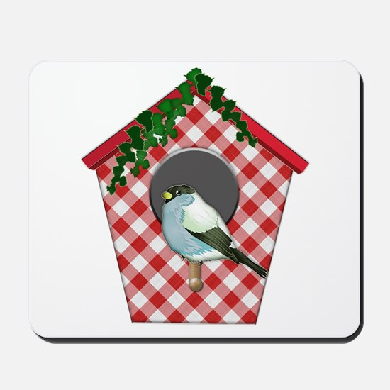 Chickadee on Red Gingham Ivy Covered Hou Mousepad