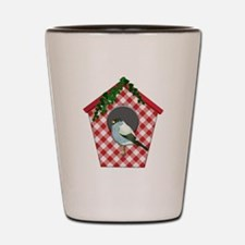 Chickadee on Red Gingham Ivy Covered Ho Shot Glass