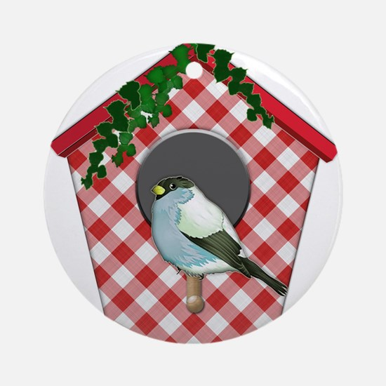 Chickadee on Red Gingham Ivy Cove Ornament (Round)