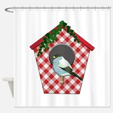 Chickadee on Red Gingham Ivy Covere Shower Curtain