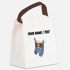 Puppy On Clothesline (Custom) Canvas Lunch Bag