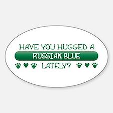 Hugged Blue Oval Bumper Stickers