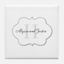 Elegant Monogram and Name Design Tile Coaster