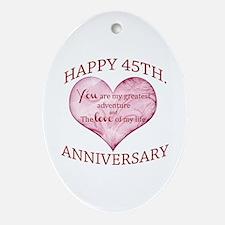 45th. Anniversary Ornament (Oval)